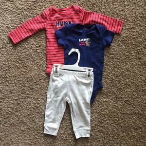 Carter's 3pc Set with Monkey Bottoms & 2 Onsies
